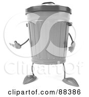 Royalty Free RF Clipart Illustration Of A 3d Trash Can Gesturing