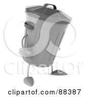 Royalty Free RF Clipart Illustration Of A 3d Trash Can Standing And Facing Right