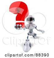 3d Techno Robot Character Holding Out A Question Mark