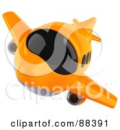 Royalty Free RF Clipart Illustration Of A 3d Orange Airliner With Tinted Windows Flying Forward