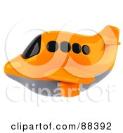 Royalty Free RF Clipart Illustration Of A 3d Orange Airliner With Tinted Windows Flying Left by Julos