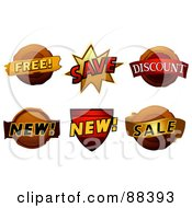 Royalty Free RF Clipart Illustration Of A Digital Collage Of Free Save Discount New And Sale Stickers
