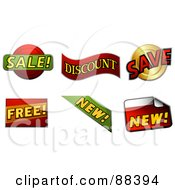 Royalty Free RF Clipart Illustration Of A Digital Collage Of Sale Discount Save Free And New Stickers by BNP Design Studio