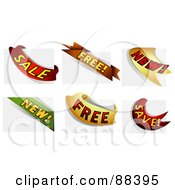 Royalty Free RF Clipart Illustration Of A Digital Collage Of Sale Free New And Save Ribbons Over Page Corners