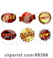 Royalty Free RF Clipart Illustration Of A Digital Collage Of Save New Free And Sale Stickers