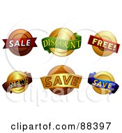 Royalty Free RF Clipart Illustration Of A Digital Collage Of Sale Discount Free New And Save Stickers