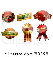 Royalty Free RF Clipart Illustration Of A Digital Collage Of Save New Discount And Free Stickers