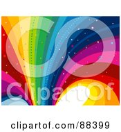 Royalty Free RF Clipart Illustration Of A Rainbow Curve Background With Star And Circle Glitter by BNP Design Studio
