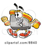 Clipart Picture Of A Camera Mascot Cartoon Character Speed Walking Or Jogging
