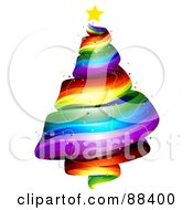 Royalty Free RF Clipart Illustration Of A Star Atop A Rainbow Spiral Christmas Tree by BNP Design Studio