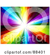 Royalty Free RF Clipart Illustration Of A Rainbow Vortex Background With Star And Circle Glitter by BNP Design Studio