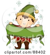 Cute Christmas Elf Holding Up A Blank Ribbon Banner