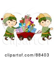 Royalty Free RF Clipart Illustration Of Cute Christmas Elves Pulling A Cart Of Presents by BNP Design Studio
