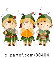 Royalty Free RF Clipart Illustration Of A Trio Of Singing Christmas Elves by BNP Design Studio