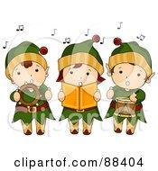 Trio Of Singing Christmas Elves