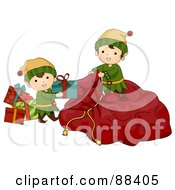 Royalty Free RF Clipart Illustration Of Cute Christmas Elves Loading Presents Into Santas Sack by BNP Design Studio