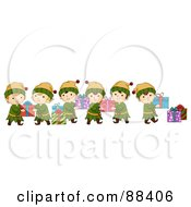 Royalty Free RF Clipart Illustration Of A Team Of Christmas Elves Passing Along Gifts In A Line
