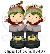 Royalty Free RF Clipart Illustration Of Two Christmas Elves In Giant Boots by BNP Design Studio