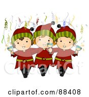 Royalty Free RF Clipart Illustration Of Three Christmas Elves With Champagne And Confetti by BNP Design Studio