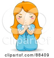 Royalty Free RF Clipart Illustration Of A Red Haired Girl On Her Knees Praying With A Rosary