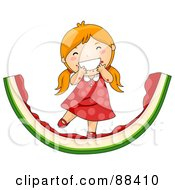 Red Haired Girl Eating On A Giant Watermelon Rind