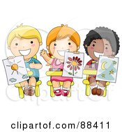 Royalty Free RF Clipart Illustration Of Three Diverse School Children Holding Up Their Drawings In Art Class
