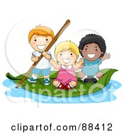 Group Of Tiny Children On A Leaf Boat