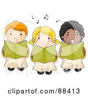 Royalty Free RF Clipart Illustration Of A Choir Of Cute Children Singing by BNP Design Studio