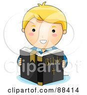 Royalty Free RF Clipart Illustration Of A Blond Christian Boy Reading The Holy Bible by BNP Design Studio