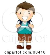 Royalty Free RF Clipart Illustration Of A Brunette School Boy Smiling And Holding Onto His Backpack Straps by BNP Design Studio