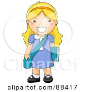 Blond School Girl Standing With Her Shoulder Bag And Book