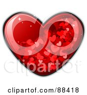 Royalty Free RF Clipart Illustration Of A Glossy Red Heart With Sparkles And Tiny Hearts by BNP Design Studio
