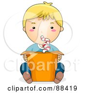Royalty Free RF Clipart Illustration Of A Blond By Using A Curly Straw To Drink A Bucket Sized Beverage by BNP Design Studio