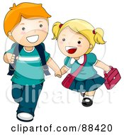 Two Kids Holding Hands And Walking To School