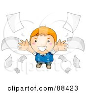 Royalty Free RF Clipart Illustration Of A Boy Flying Through Loose Papers by BNP Design Studio
