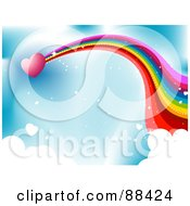 Royalty Free RF Clipart Illustration Of A Pink Heart With A Rainbow Trail Shooting Through A Blue Sky With Puffy Clouds by BNP Design Studio