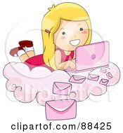 Blond Girl Laying On A Cloud And Sending Email With Her Pink Laptop