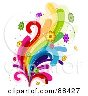 Royalty Free RF Clipart Illustration Of Rainbow Swooshes And Colorful Flowers