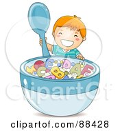 Happy Boy Holding A Spoon By A Giant Bowl Of Alphabet Cereal