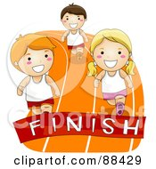 Royalty Free RF Clipart Illustration Of Boys And Girls Racing To A Finish Line On A Track