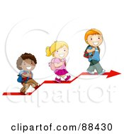 Royalty Free RF Clipart Illustration Of Three Diverse School Children Walking Up On An Arrow