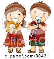 Royalty Free RF Clipart Illustration Of A Brunette Brother And Sister With Their Toys by BNP Design Studio