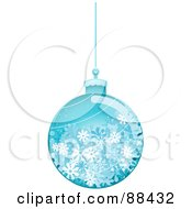 Royalty Free RF Clipart Illustration Of A Glossy Blue Snowflake Christmas Ball by BNP Design Studio