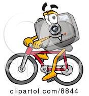 Camera Mascot Cartoon Character Riding A Bicycle