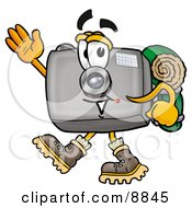 Clipart Picture Of A Camera Mascot Cartoon Character Hiking And Carrying A Backpack by Toons4Biz