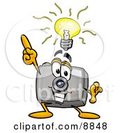 Clipart Picture Of A Camera Mascot Cartoon Character With A Bright Idea by Toons4Biz