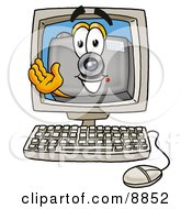 Clipart Picture Of A Camera Mascot Cartoon Character Waving From Inside A Computer Screen by Toons4Biz