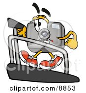 Clipart Picture Of A Camera Mascot Cartoon Character Walking On A Treadmill In A Fitness Gym by Toons4Biz