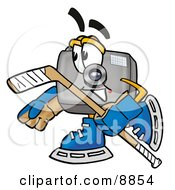 Clipart Picture Of A Camera Mascot Cartoon Character Playing Ice Hockey by Toons4Biz