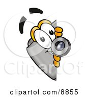 Clipart Picture Of A Camera Mascot Cartoon Character Peeking Around A Corner by Toons4Biz